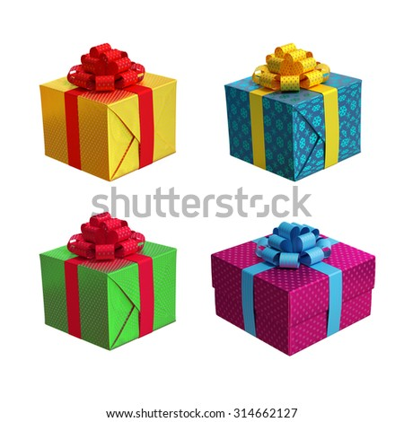 isolated gift boxes, 3d illustration - stock photo