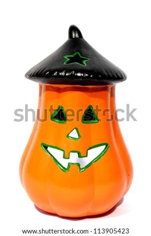 Isolated glass jack o lantern holder ready for candle. - stock photo