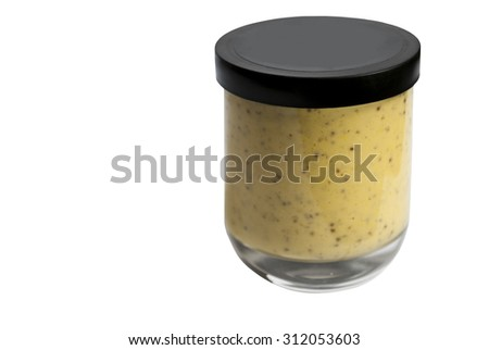 Isolated glass jar of dijon mustard without shadows in three quarter view - stock photo