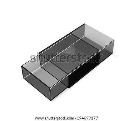 isolated glass matchbox on white - stock photo