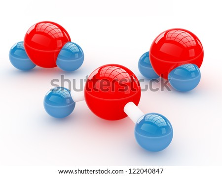 Isolated glossy water molecules - stock photo