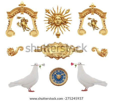 isolated gold detail in the Versailles lock with pigeons with a rose. France. - stock photo