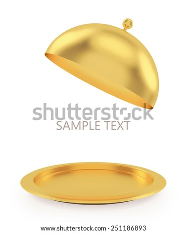 Isolated gold open tray on a white background. High resolution 3D - stock photo