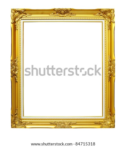 Isolated gold wooden Photo Frame - stock photo