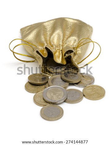 Isolated Golden Money Bag Full of  Euro Coins - stock photo