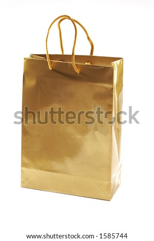 isolated golden package for gift - stock photo
