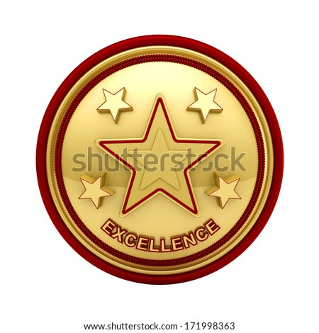 Isolated golden seal with five stars for outstanding excellence - stock photo