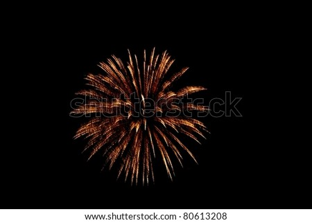 Isolated Golden Yellow Firework Burst against Black Sky - stock photo