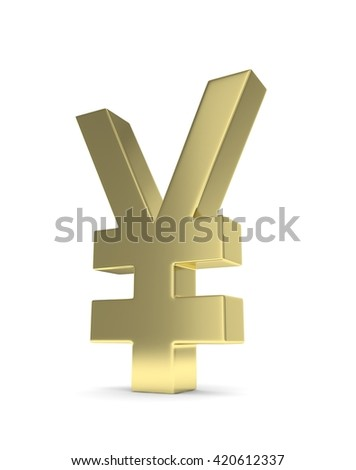 Isolated golden yen yuan sign on white background. Chinese japanese currency. Concept of investment, asian market, savings. Power, luxury and wealth. 3D rendering. - stock photo