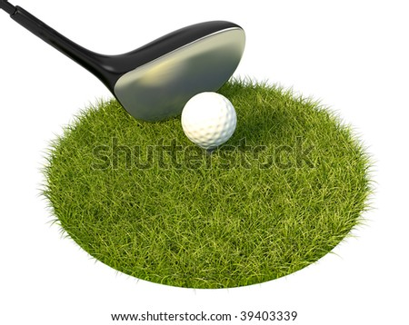 isolated golf shaft with ball on the grass lawn - stock photo