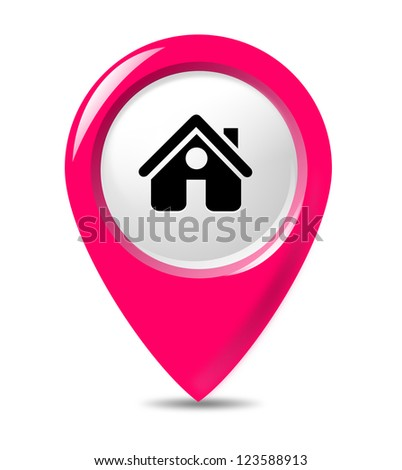 Isolated gps poniter on white background. - stock photo