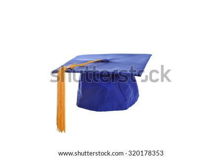 isolated graduation hat ,with yellow tassels - stock photo