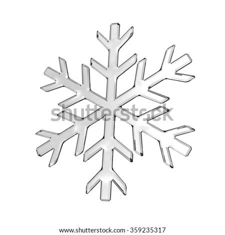 Isolated gray glass snowflake on white - stock photo