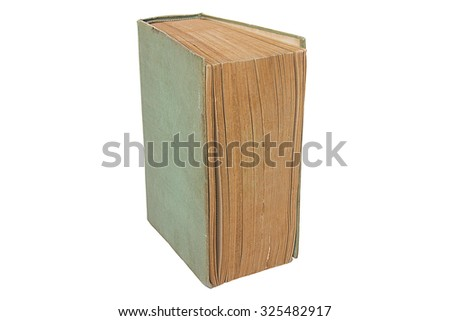Isolated green book on white background.Book on white background. - stock photo