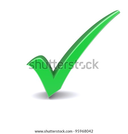 Isolated green check mark. 3d image - stock photo