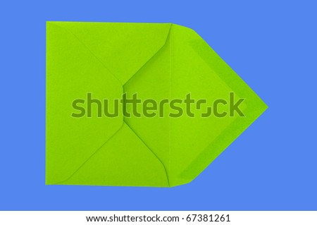 Isolated green envelope on the blue surface with paths. - stock photo