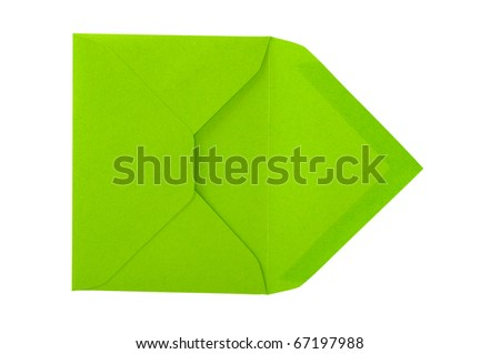 Isolated green envelope on the white surface with paths. - stock photo