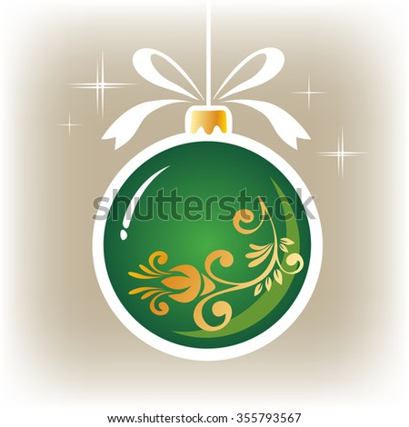 Isolated green  ornate Christmas ball on a gray background. - stock photo
