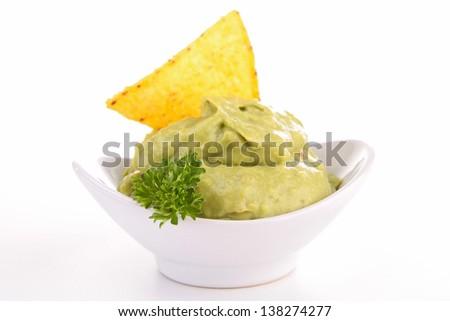 isolated guacamole - stock photo