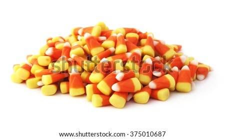 Isolated halloween candy corns on a white background. - stock photo
