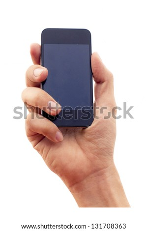 isolated hand holding smartphone or phone. clipping path of hand and screen are in jpg. - stock photo