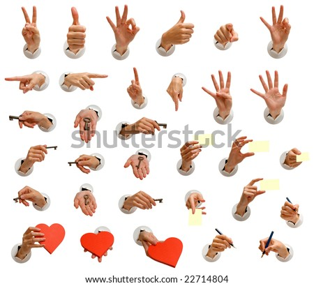 isolated hand images collection for use in many designs - stock photo