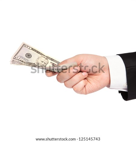 isolated hand of a businessman in a suit holding a money transfer - stock photo
