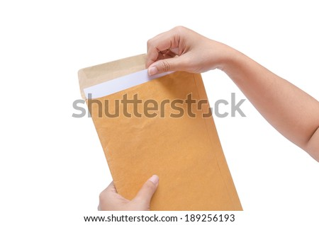 ISolated Hands are holding the envelope - stock photo
