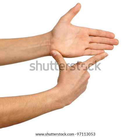 isolated hands showing measure over white - stock photo