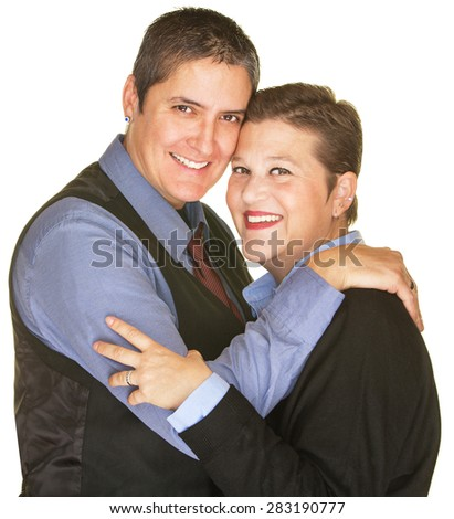 Isolated happy lesbian sweethearts holding each other - stock photo