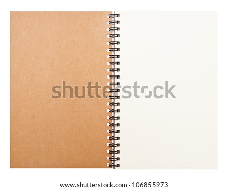Isolated hard-cover brown notebook with clear space - stock photo