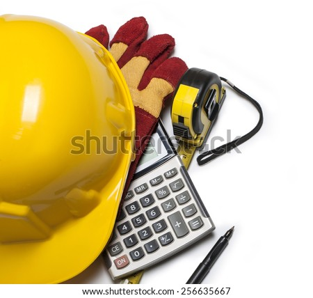 isolated hard hat with gloves and rulers on white - stock photo