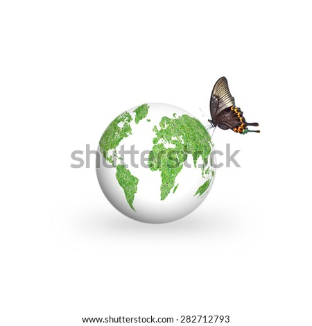 Isolated healthy green grass globe on white background with butterfly on the green planet : World environment day concept - stock photo