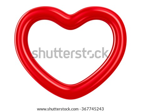 Isolated heart on white background. 3D image - stock photo
