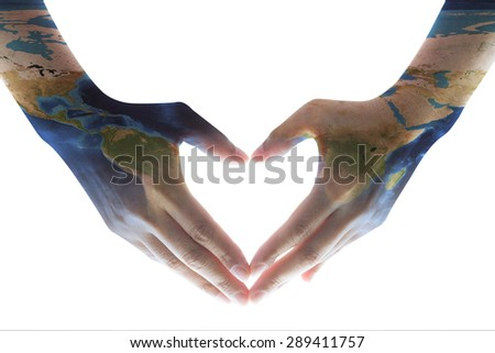 Isolated heart shaped female hands with world map pattern skin on white color background : World map on woman human hands in love sign hand language: Elements of this image furnished by NASA     - stock photo