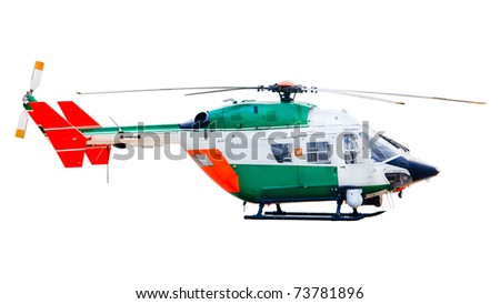 isolated helicopter - stock photo