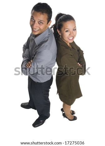 Isolated high angle studio shot of a businessman and businesswoman standing back to back. - stock photo