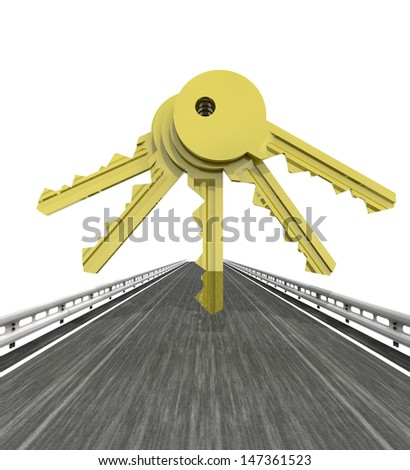 isolated highway with five golden keys illustration - stock photo