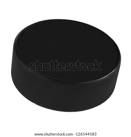 Isolated hockey puck over white background with clipping path - stock photo