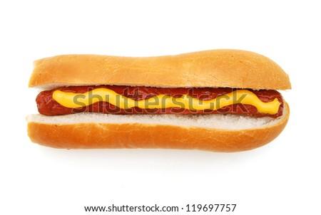 isolated hot dog - stock photo