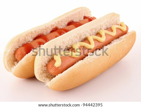 isolated hot dog - stock photo