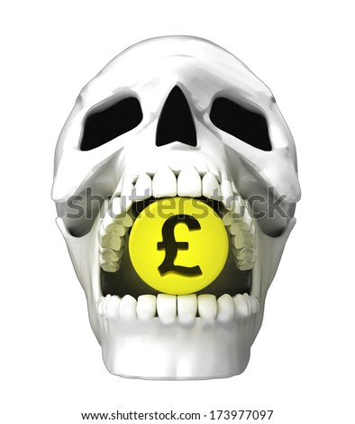 isolated human skull head with golden Pound coin in jaws illustration - stock photo