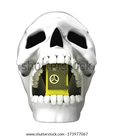 isolated human skull head with golden vault in jaws illustration - stock photo