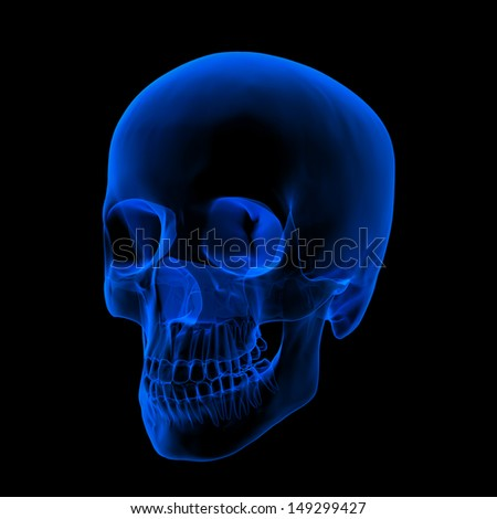 Isolated human x ray skull on black background - right front view - stock photo
