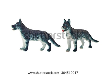 Isolated hunting dog toy. Isolated hunting dog toy side and angle view. - stock photo