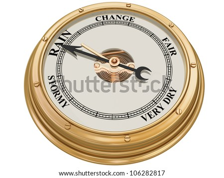 Isolated illustration of a barometer indicating persistent rain - stock photo