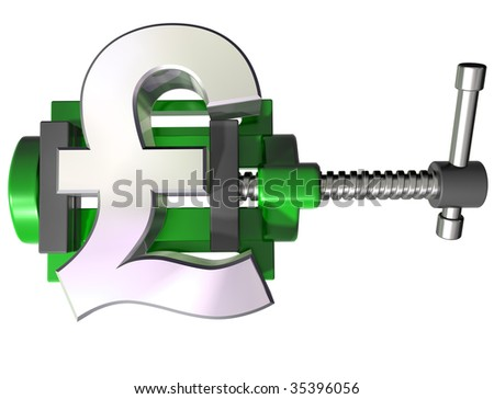 Isolated illustration of a pound symbol being squeezed in a vice - stock photo