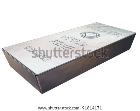 Isolated illustration of a pure silver ingot - stock photo