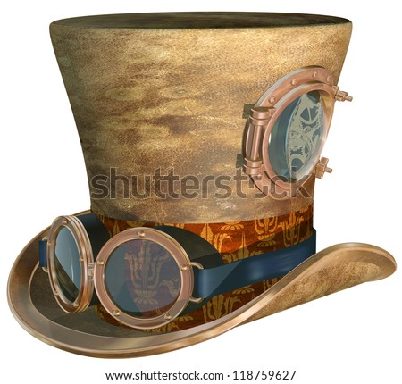 Isolated illustration of a steampunk top hat and brass goggles - stock photo