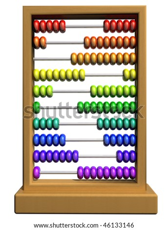 Isolated illustration of an abacus with rows of brightly colored beads - stock photo
